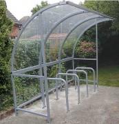 Abri vélo en arc - Structure en tubes d'acier - Toit de 4 mm d'épaisseur en polycarbonate