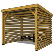 Abri vélo horizontale en bois - Dimension (mm) : L2500 x l 2000 x H2200