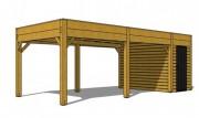 Abri voiture en bois avec cellier - Dimensions (mm) : 7000 x 3000 x 2478 - 7000 x 5000 x 2478
