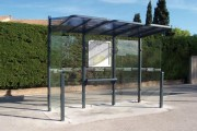 Abri voyageurs à toiture en polycarbonate - Toiture composé de tube acier 40 x 40 mm