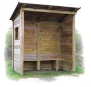 Abribus en bois avec fenêtre - Hauteur hors-sol : 2000 / 2400 mm - Avec fenêtre