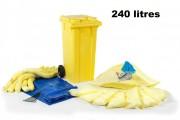 Absorbants et kits d'intervention - Capacité : 240 L - Feuilles, boudins, coussins, sacs, conteneur