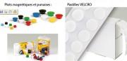 Accessoires pour vitrines - Plots magnétiques, punaises et pastilles