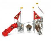 Aire de jeux exterieure - Matière de fabrication : bois, métal, PHED, inox