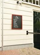 Ardoise menu murale en bois - Cadre en bois dur laqué - Surface d'écriture double-face