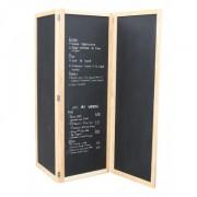 Ardoise paravent Grand Menu tryptique - - Dimensions panneau : 170 cm  x 60 cm x 3 écrans recto/verso