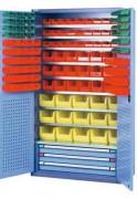 Armoire à bacs avec portes - Usage : Industriel - Dimensions extérieures (L x P x H) : 1000 x 450 x 1950  mm