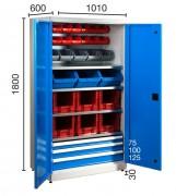 Armoire à bacs industrielle - Capacité charge tiroirs de 80 Kg chacun