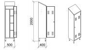 Armoire à balais inox - Pieds ronds démontables - Modèle : 1 à 2 portes
