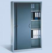 Armoire à rideaux pour atelier - Serrure à pêne rotatif/ à poussoir avec 2 clés et un cylindre interchangeable en option