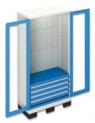 Armoire a tiroirs portes plexiglas sur base de levage - Charge admissible de 150 kg/tablette