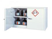 Armoire basse 2 portes pour stockage de produits chimiques - 1 étagère de 11L - 1 bac de rétention de 20L - Volume de stockage conseillé : 75L