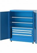 Armoire basse à tiroirs et tablettes - Dimensions (L x prof x ht) : 920 x 450 x 1200 mm