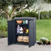 Armoire basse de jardin - Contenance : 250 L  - Dimensions extérieures : 70 x 50 x 92 cm