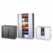 Armoire basse métal à rideaux monobloc dimensions 120x43x100 cm coloris alu/alu - Bisley