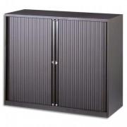 Armoire basse métal à rideaux monobloc dimensions 120x43x100 cm coloris gris anthracite - Bisley
