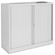 Armoire basse métal à rideaux monobloc dimensions 120x43x100 cm coloris gris clair - Bisley