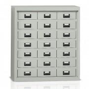 Armoire bureau basse à casiers métal - 21 tiroirs métalliques