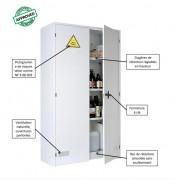Armoire corrosive - Charge admissible par étagère : 60 et 120 kg selon modèle