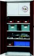 Armoire d'atelier 4 étagères - Box de sécurité intégré conforme à la norme NF EN 14470-1