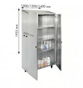 Armoire de cuisine inox à portes battantes - Dimensions (L x l x H) mm : 1000 x 600 x 1935