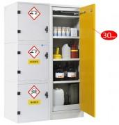 Armoire de sécurité pour acides et bases avec module coupe-feu 30 mn - Stockage sécurisé de 4 modules indépendants : bases, acides, inflammables, toxiques - Poids 252 kg - Volume de stockage 225 L