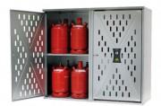 Armoire de sécurité pour bouteilles de gaz double porte - Capacité :  9 x 33 kg ou 20 x 11 kg ou 36 x 5 kg