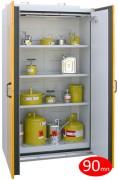 Armoire de sécurité pour stockage de produits inflammables - 2 portes - Armoire coupe-feu 90 mn - Dim. 193 ht x 140 larg x 60 prof cm - Volume de stockage conseillé : 260 L