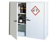 Armoire de stockage : 2 portes - Produits corrosifs - Dim. (HxLxP) : 110 x 120 x 52 cm - Rétention 82L - Poids 140 kg - Volume stockage conseillé : 145 L
