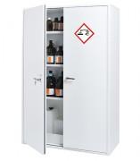 Armoire haute 2 portes pour le stockage : acides et bases - Double paroi - Volume de stockage de 250 L - 3 étagères de rétention (3x13L) - 1 bac de rétention 56L