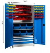 Armoire industrielle à bacs - Dimensions (larg x prof x ht) : 1010 x 600 x 1800 mm