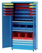 Armoire industrielle à bacs et tiroirs - Dimensions (Larg x prof x ht) : 1010 x 600 x 1800 mm