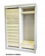 Armoire médicale à rideau - Encombrement : 156 X 77 X 56 cm