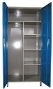 Armoire métallique à 2 portes battantes - 4 étagères  -  1 penderie