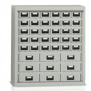 Armoire métallique basse à tiroirs - 39 tiroirs métalliques