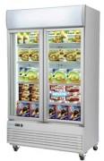 Armoire négative vitrine réfrigérée - Froid négatif -18° -22°C - Acier laqué blanc - 970 W