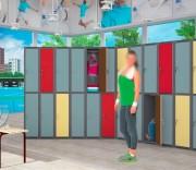 Armoire pour clubs de sport - 1 colonne 2 cases - Porte bois - Largeur : 300