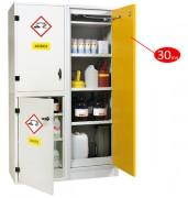 Armoire pour produit chimique : 3 compartiments dont 1 coupe-feu 30 mn - Armoire de sécurité utilisée pour stocker séparément les produits chimiques selon les classes de risques - Coupe-feu 30mn - Norme EN 14470-1