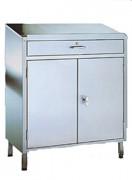 Armoire pupitre inox 2 portes battantes - Dimensions (L x P x H) mm : 800 x 400 x 1170