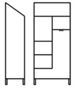 Armoire range balais 2 portes - Dimensions (L x P x H) mm : 950 x 500 x 2160
