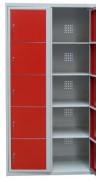 Armoire vestiaire 5 casiers métallique - À casiers visitables