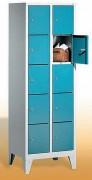 Armoire vestiaire 5 casiers superposées - Armoires sur pieds (hauteur 150 mm)