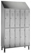 Armoire vestiaire inox 10 portes - Dimensions (L x P x H) mm : 1200 x 400 x 2000