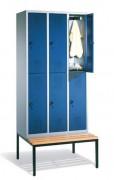 Armoires vestiaire avec banc incorporé - Dimensions utiles par porte (H x L x P) : 1315 x 230/330 x 465 mm