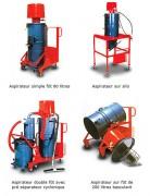 Aspirateur industriel pneumatique - Simple ou double fût -  Sur silo ou sur fût