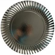 Assiette en carton - Dimensions (L x Ø) : 290 x 290 mm - Couleur : argent
