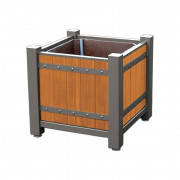 Bac à palmier bois et acier - Dimensions  disponibles : de 650 x 650 x 700 à 1250 x 1250 x 1150 mm