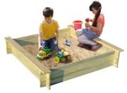 Bac à sable pour aire de jeux 120 x 120 - Dimensions produit (L x l x H) cm : 120 x 120 x 25