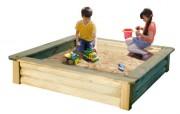 Bac à sable pour enfants en pin - Dimensions produit (L x l x H) cm : 150 x 150 x 30