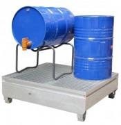Bac acier de rétention pour 4 Fûts - Capacité : 440 L